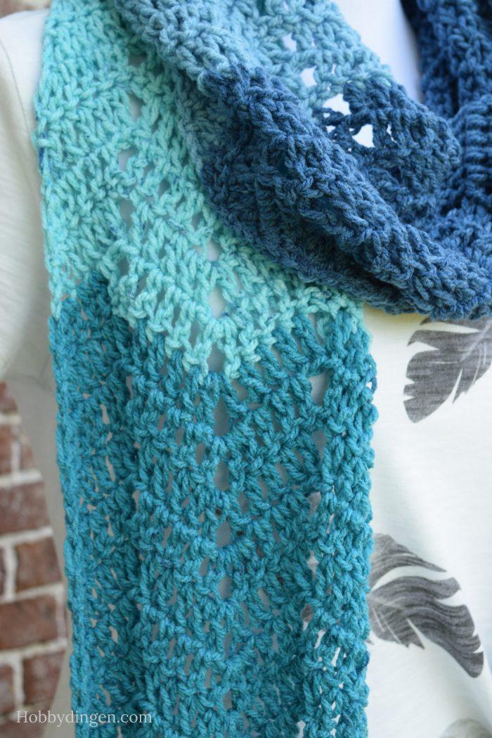 Free Crochet Pattern Scarf - Waterfall Scarf - Hobbydingen.com